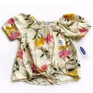 NWT Old Navy Floral Print Tied Shirt Size 2T